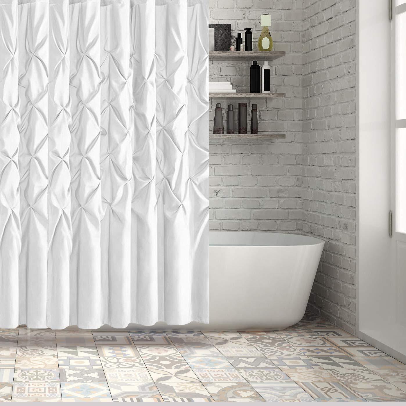 Amazon Hermosa Collection Luxury Hotel Ruffle Pinch Pleat Pattern Shower Curtain