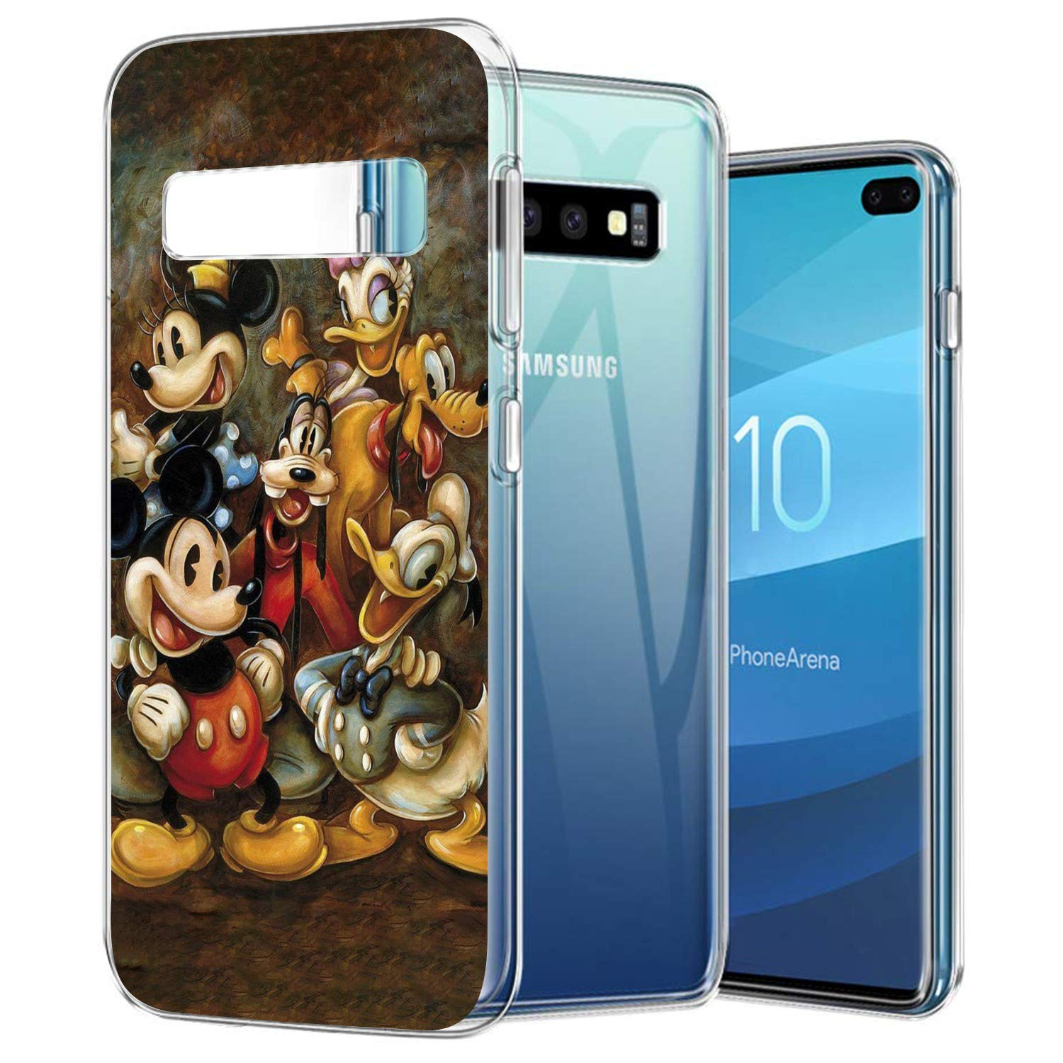 DISNEY COLLECTION Crystal Phone Case Compatible Samsung Galaxy S10 Plus Clear Anti-Scratch Shock Absorption Mickey Mouse and Donald Duck Design Cover