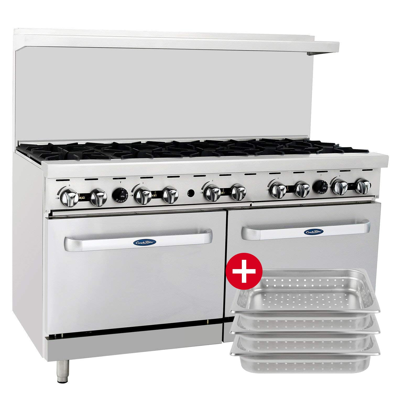 CookRite ATO-10B Commercial Manual Natural Gas Range 10 Burner Hotplates With 2 Standard Ovens 60'' - 304,000 BTU