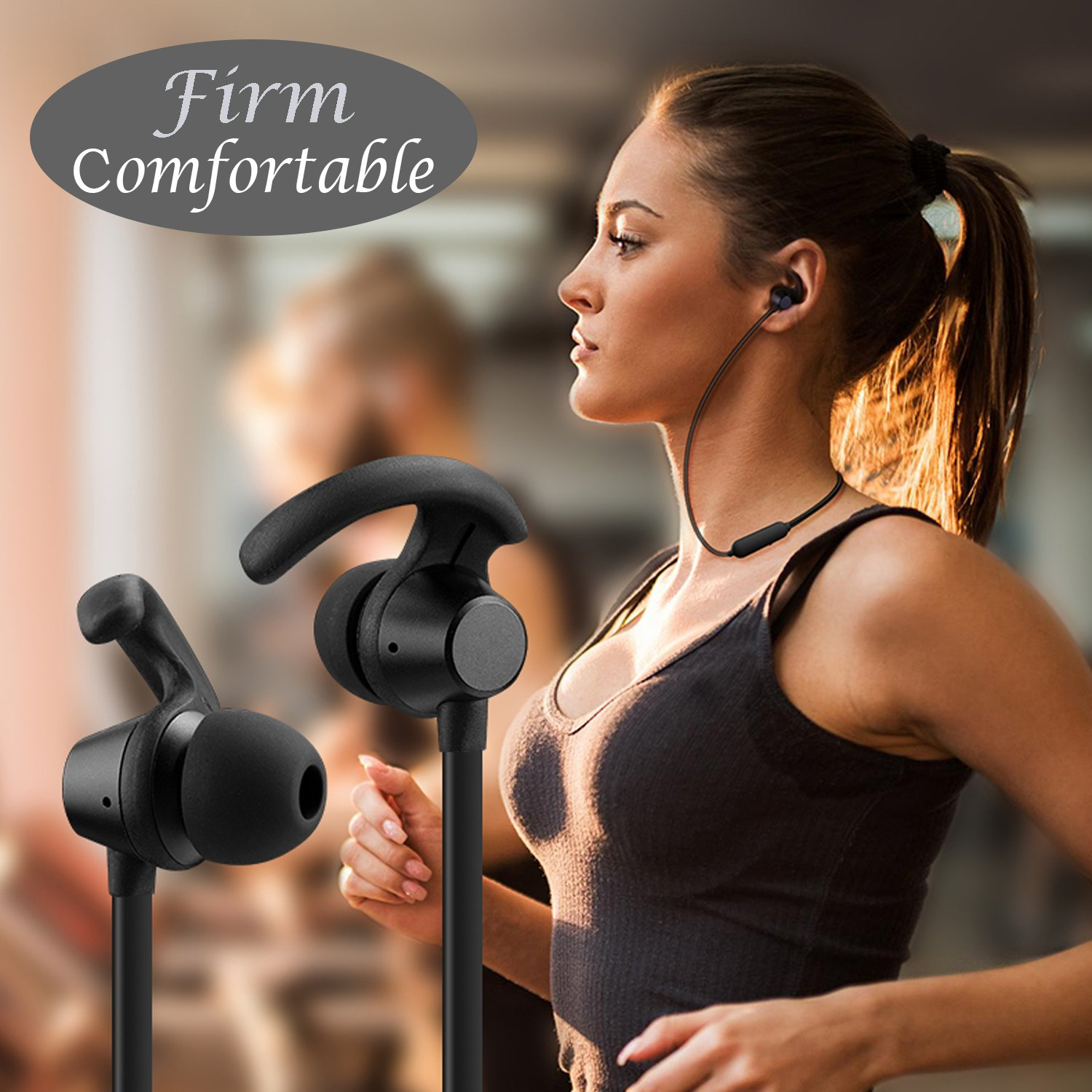 LJLB S39 Cordless Bluetooth Headphones In-Ear Neckband Headset with IPX5 Waterproof and Sweatproof Magnetic Earbuds for Running, The Best Sports Wireless Earphones w/Mic 10 Hours Playtime