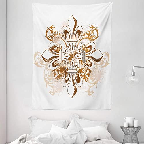 Ambesonne Fleur De Lis Tapestry, Antique Heraldry Vintage Floral Swirls Traditional Old Fashion, Wall Hanging for Bedroom Living Room Dorm, 60 X 80 , White Brown