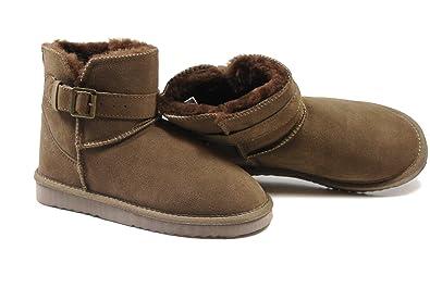 SUPER s6x Lammfell Stiefel kurz Schaft Damen Stiefel Australisches Lammfell, Lammfell Short Boots braun mit braunen Lammfell,