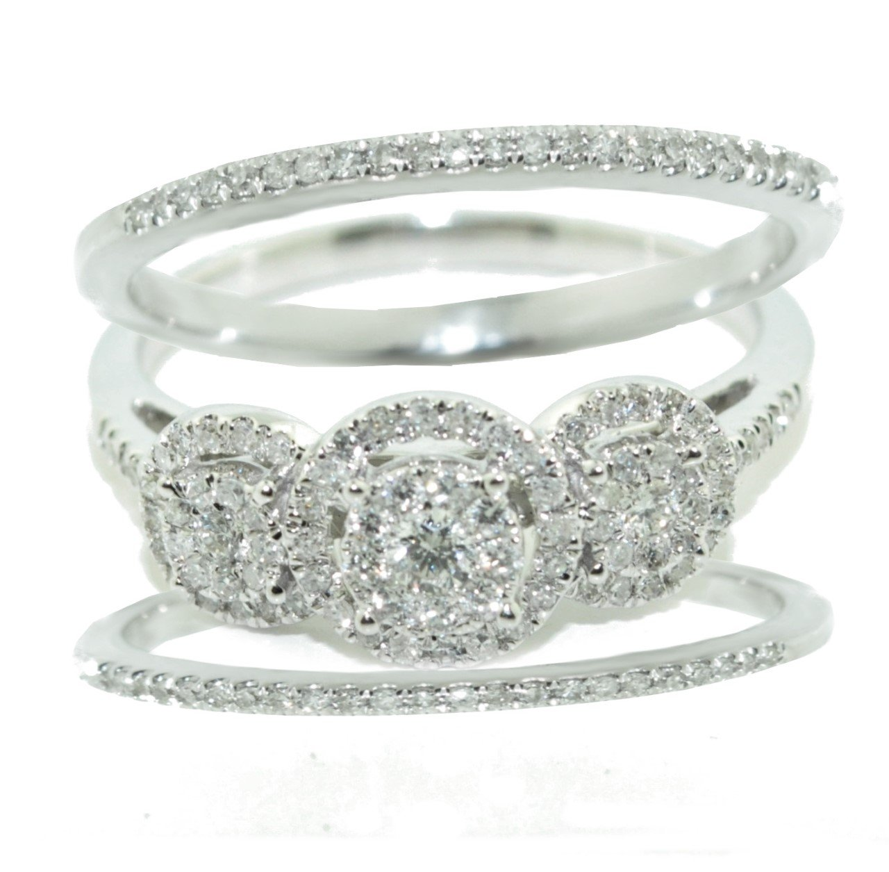 10K White Gold Bridal Set 3pc Set Round Halo 3 Stone style Cluster 1/2ctw (i2/i3, I/j)