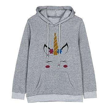 fbf94c9da Women Unicorn Printed Hoodie Sweatshirt Crop Top Ladies Long Sleeve ...