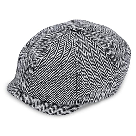 fe79d8c4627 IC ICLOVER 8 Piece Newsboy Cap Irish Vintage Style Twill Casual Flat Hat ( Gray Herringbone