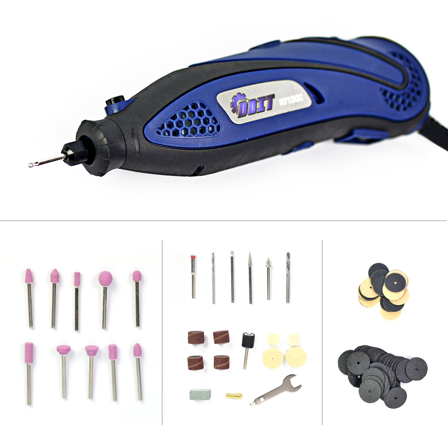 Doit Rotary Tool Kit Variable Speed with 109 pieces Accessories Bits, Mini Handy Drill for Grinding Sanding
