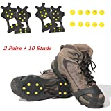 Gpeng Ice Cleats Gpeng Ice Cleats for shoes and Boots/ Snow Tractions for Men Women Youth Kids/ Ice Grips Footwear Crampon for Walking, Jogging, Hiking, Footwear on Snow (2 Sets +10 Studs)
