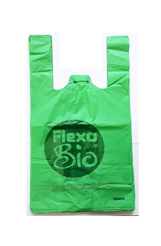 30 x 20 x 60-13 gr a Strappo e asola per appenderli robusti Shopper bio biodegradabili compostabili Norma EN 13432 per Negozi Alimentari Plaxi 500 Buste Sacchetti Resistenti cm