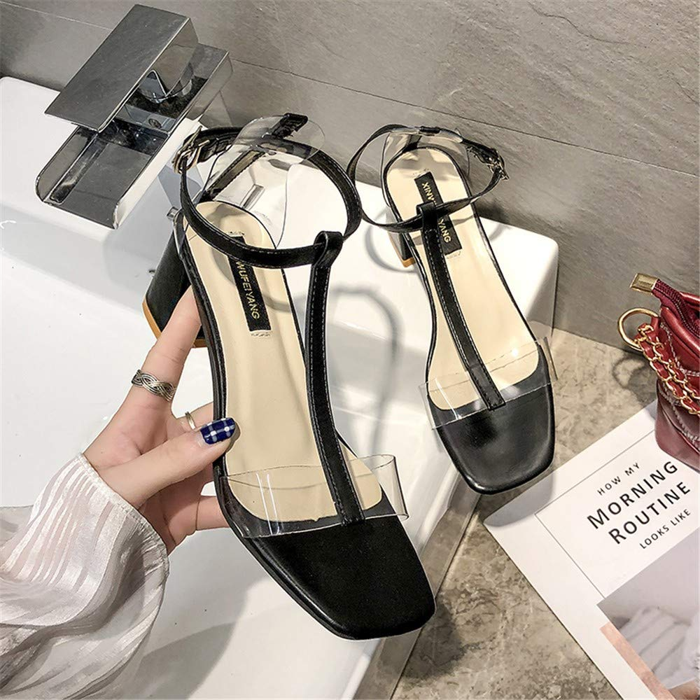 Tide Net Red T-Shaped Buckle Belt Sandals Female 2019 Summer New Personality Transparent Thick with Girls High Heels