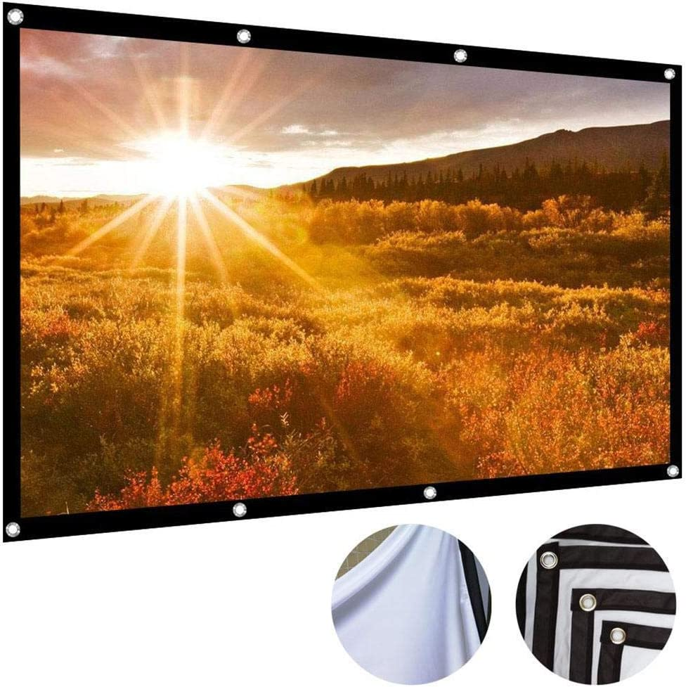HOTUEEN Projection Screen No Creases Black-Sided Foldable HD Movie Projector Screen Background Cloth Projection Screen