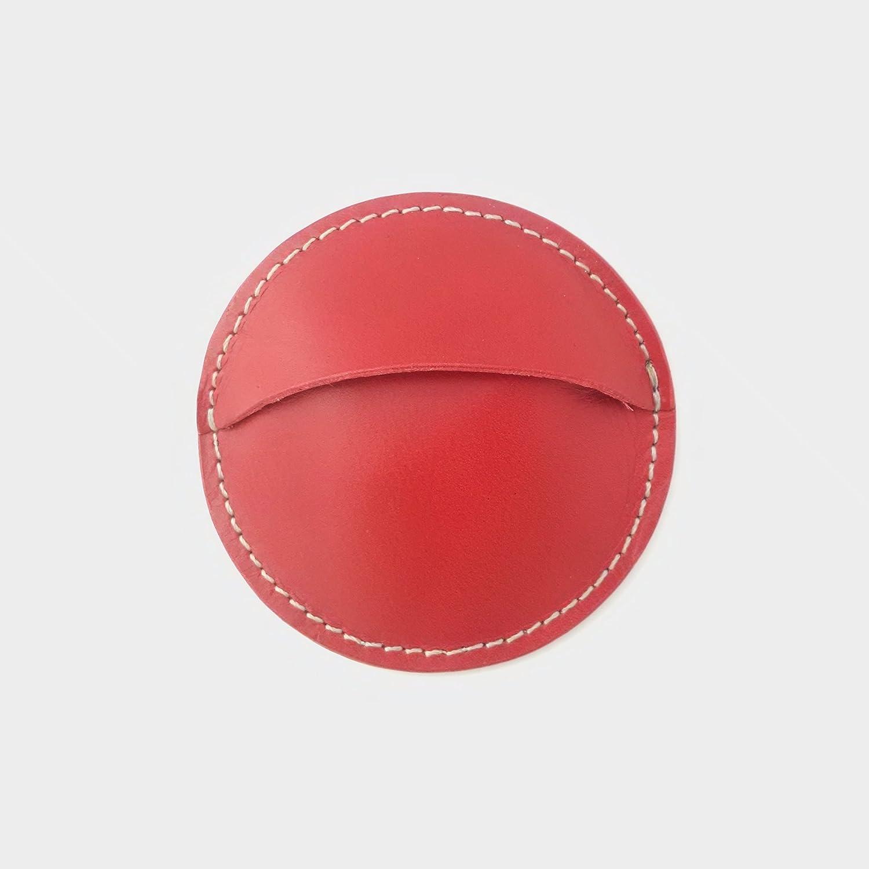 Monedero redondo artesanal de cuero vaquetilla-Rojo-8cm ...
