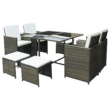 Hansson Sports Polyrattan Poly Rattan Gartenmobel Sitzgruppe Lounge Gartenset Garnitur Aus 1 X Tisch 4 X Stuhl Und 4 X Hocker 4 Rattan Farbe Zur