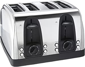 Brentwood Ts-445S 4-Slice Elegant Toaster with Brushed Stainless Steel Finish, Multicolor