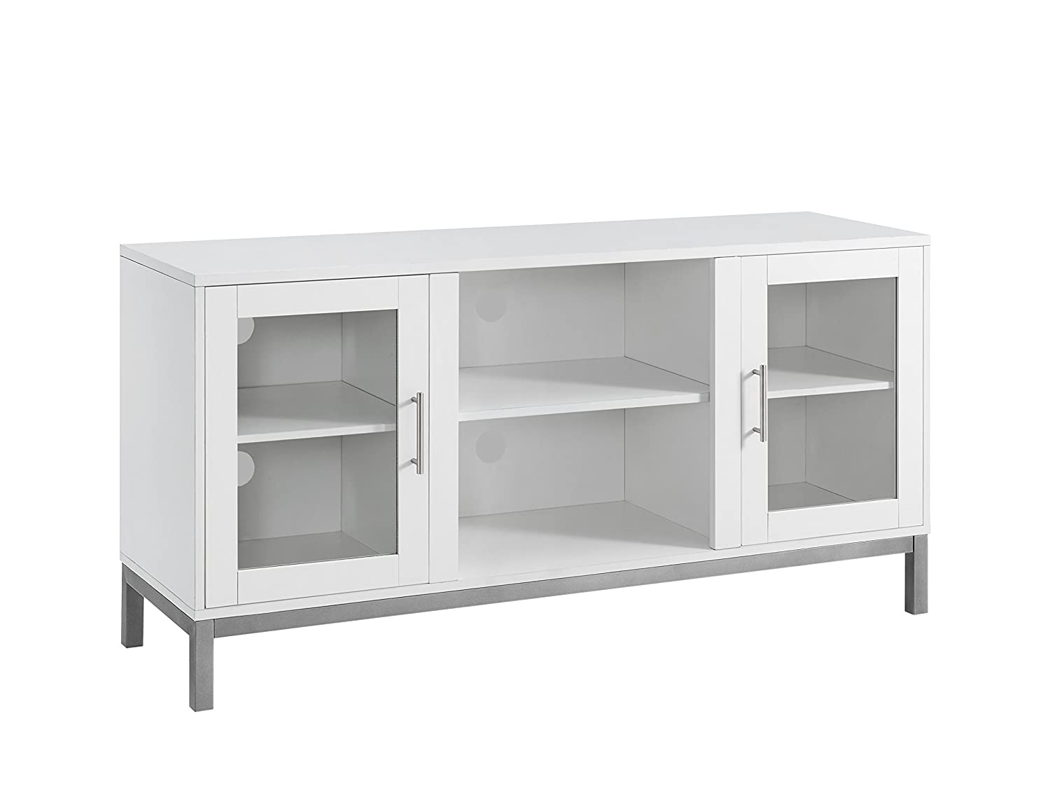 WE Furniture 52 Avenue Wood TV Console with Metal Legs – White