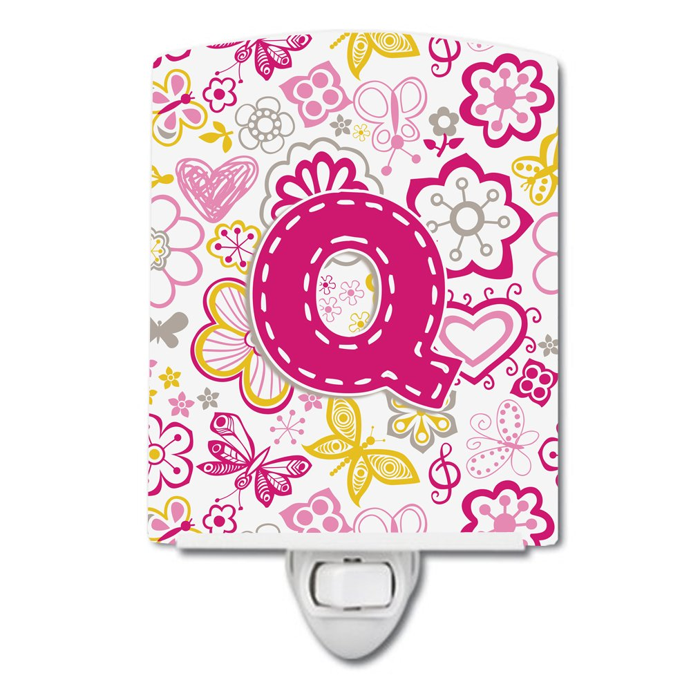 Carolines Treasures Letter Q Flowers and Butterflies Pink Ceramic Night Light 6x4 Multicolor