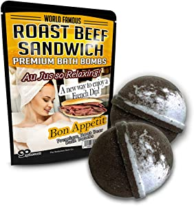 Roast Beef Sandwich Bath Bombs XL Root Beer Bath Bombs Luxury Bath Balls Funny Girlfriend Gags for Best Friends Bath and Body Gags for Men Funny Spa Gifts for Men Weird Gifts Au Jus French Dip