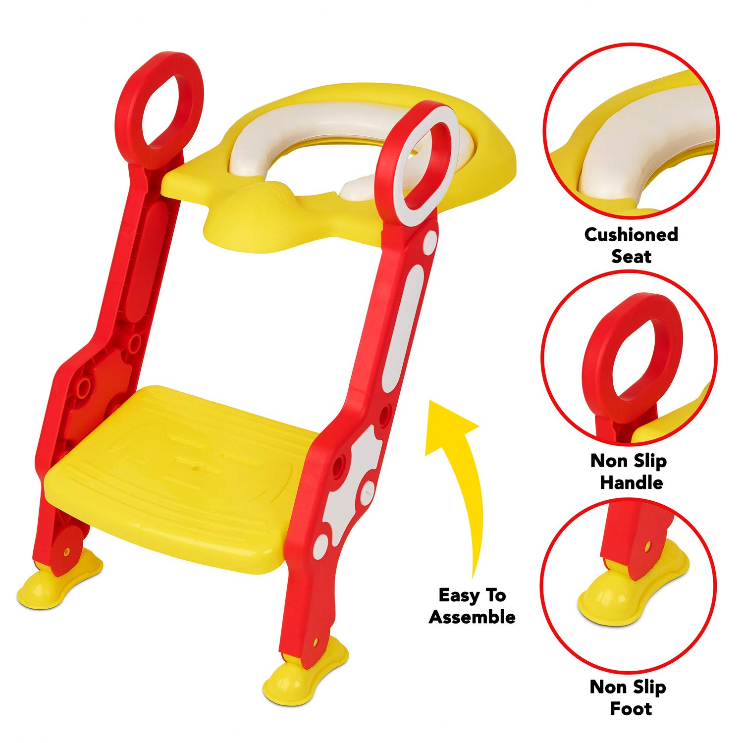Zuvo Potty Training Seat Toilet Seat and Ladder for Toddlers (Yellow)