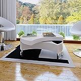 Table basse pivotante en MDF blanche brillante laquée