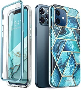 i-Blason Cosmo Series Case for iPhone 12, iPhone 12 Pro 6.1 inch (2020 Release), Slim Full-Body Stylish Protective Case with Built-in Screen Protector (Ocean)