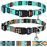 CollarDirect Cat Collar Breakaway Set of 2 PCS Tribal Pattern Aztec Pet Safety Adjustable Kitten Collar with Bell (Pattern 1 + Pattern 2)