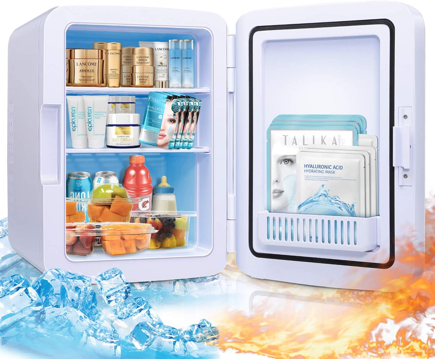 Firares Rapid Cooling 10 Liter/12 Can Mini Fridge for Bedroom Portable Skincare Makeup Fridge Cooler and Warmer Storage for Skincare, Snacks, Foods, Medications, Suit Bedroom Office Car Travel (White)