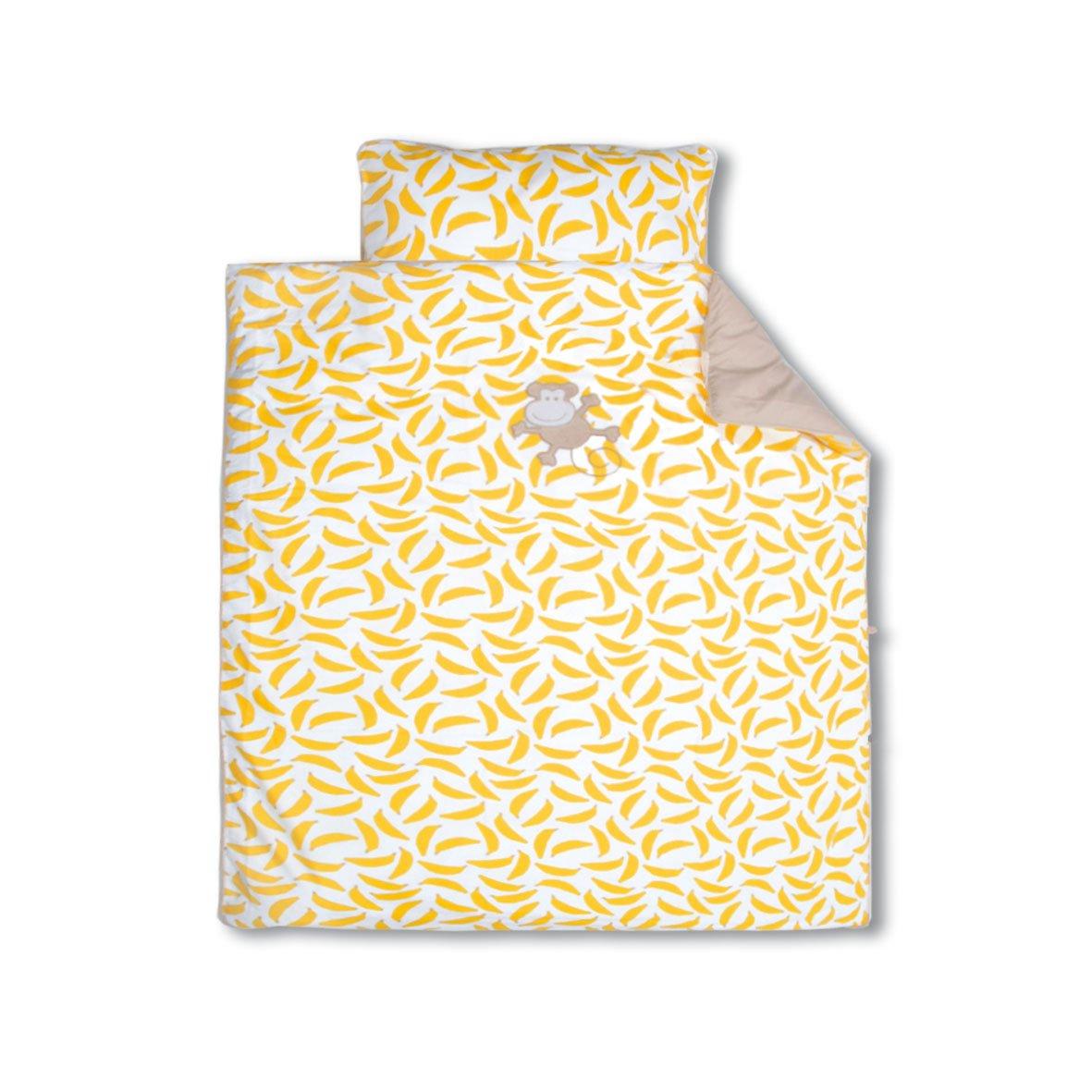 Baby Boum 80 x 80cm 100% Cotton Appliquéd Cradle Duvet Set (Gimik Monkey Collection, Yellow) Little Helper 100GIMIK32