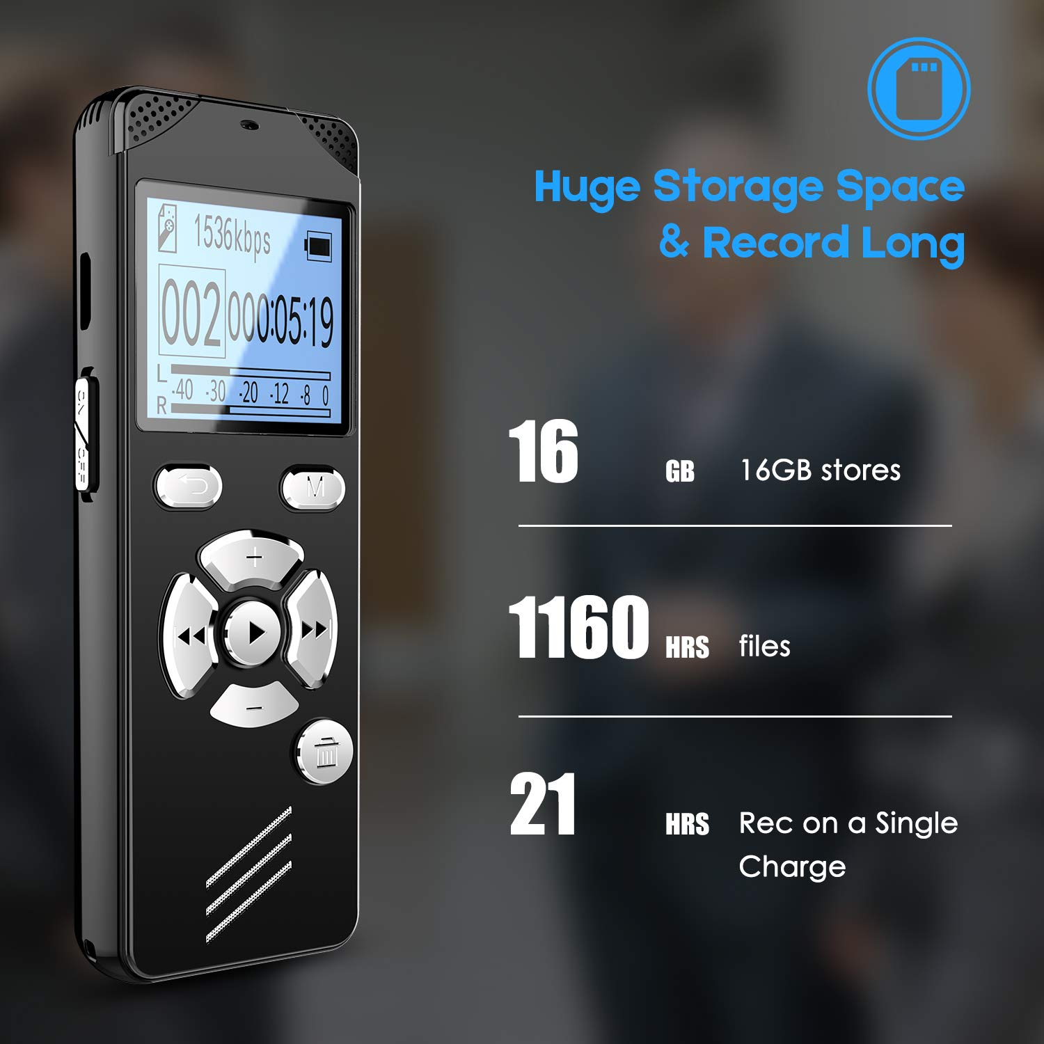 EVIDA 16GB Digital Voice Recorder with Playback for Lectures Meetings,Voice Activated Recording Device with USB Rechargeable,Password