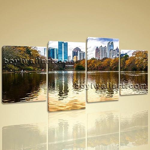Amazon.com: Large Atlanta Ga Skyline Landscape Wall Decor Art Living ...