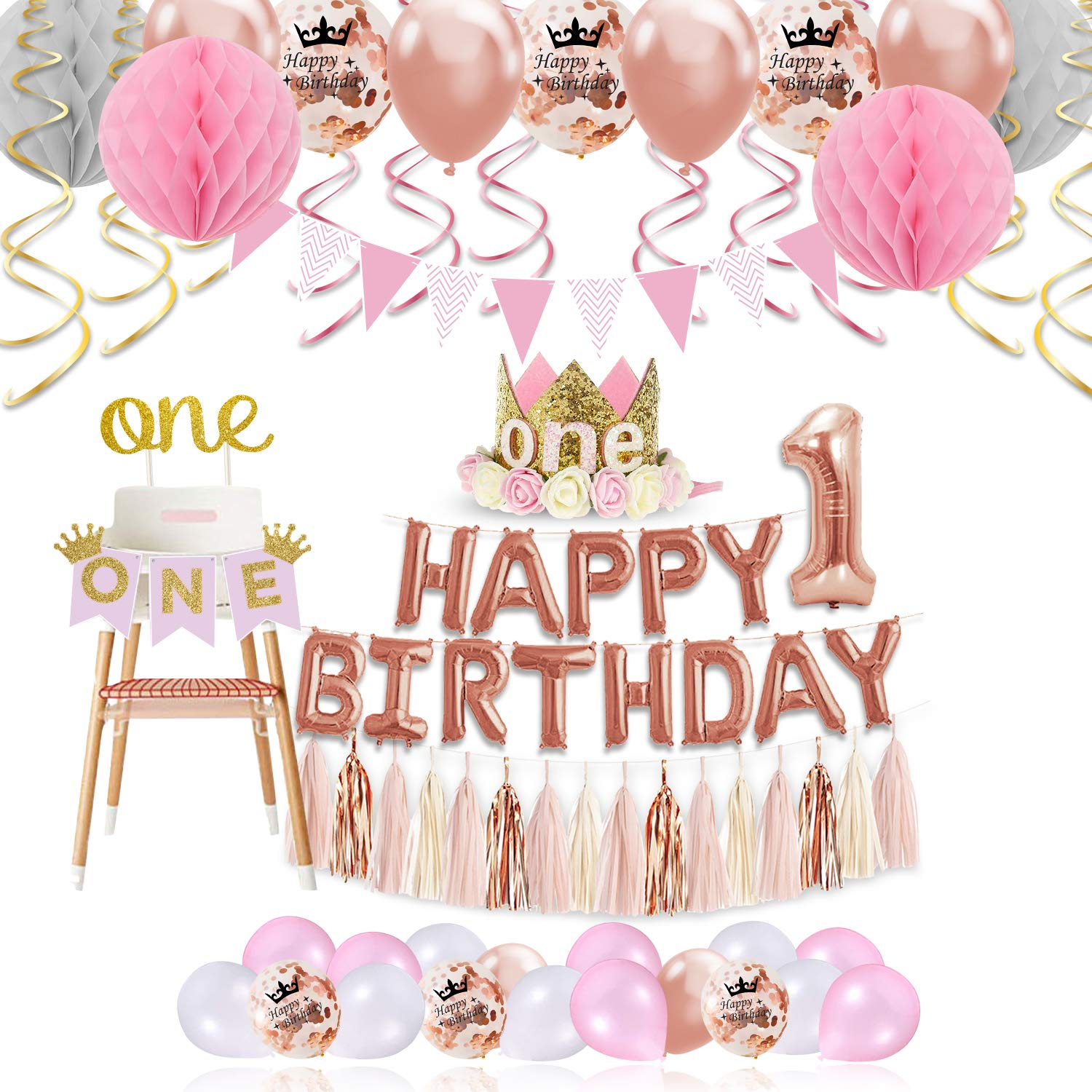 1st Birthday Girl Decorations Princess Theme - 85 Piece First Birthday Decorations Girl Kit Pink/White/Rose Gold. ONE Cake Topper, First Birthday Highchair Banner, Crown, Balloons