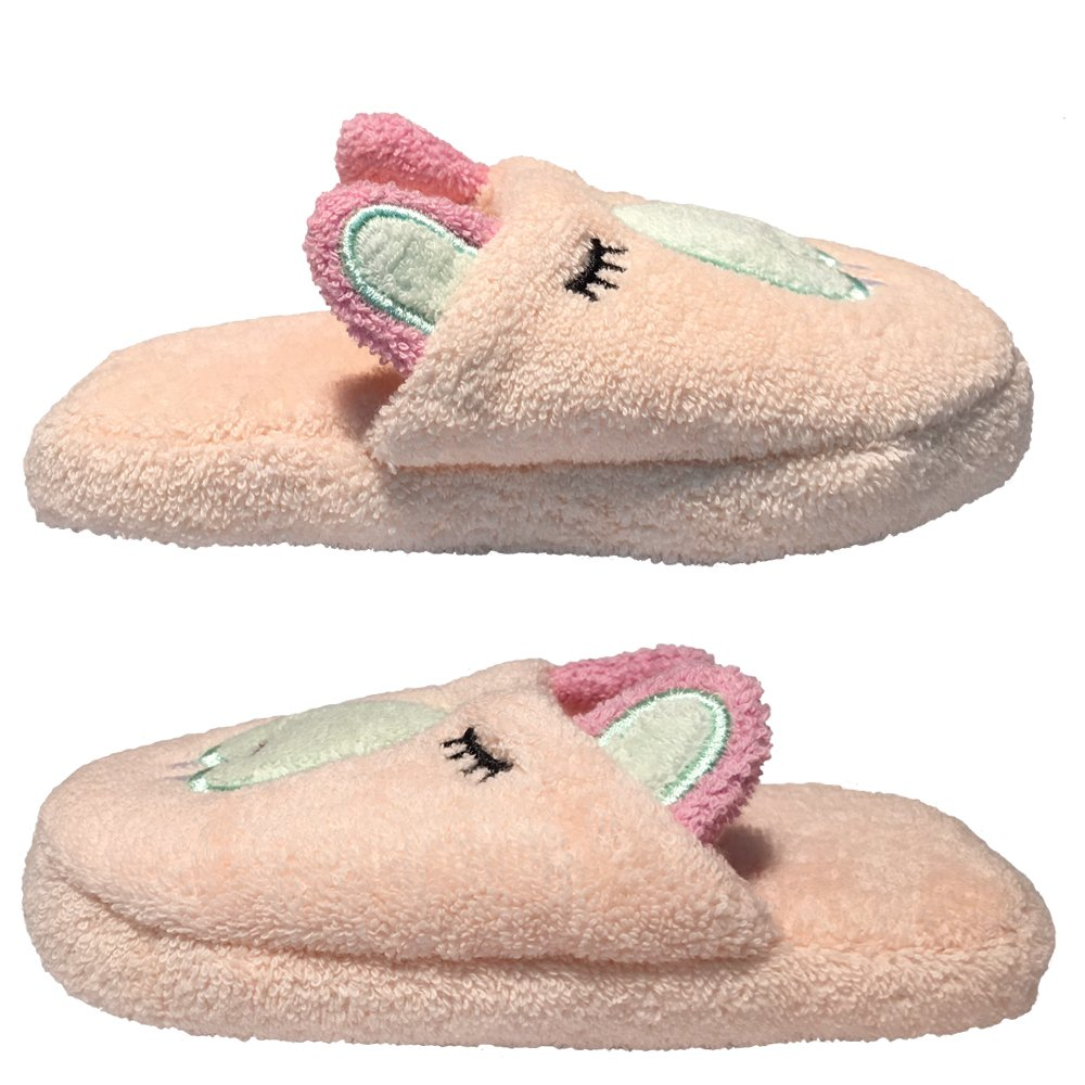 Breganwood Organics Toddlers Terry House Slippers for Boys and Girls, Closed Toe with Non Slip Sole, Pastel Peach Animal Design, Busy Beaver by Breganwood Organics (Image #2)