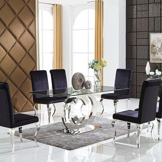 CC Muebles Mesa de Comedor Tapa de Cristal Base de Cromo: Amazon ...