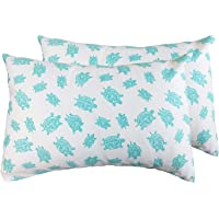 2 Toddler or Travel Pillowcases in Organic Cotton to Fit 13 x 18 and 14 x 19 Pillow, Turtle Print (Aqua)