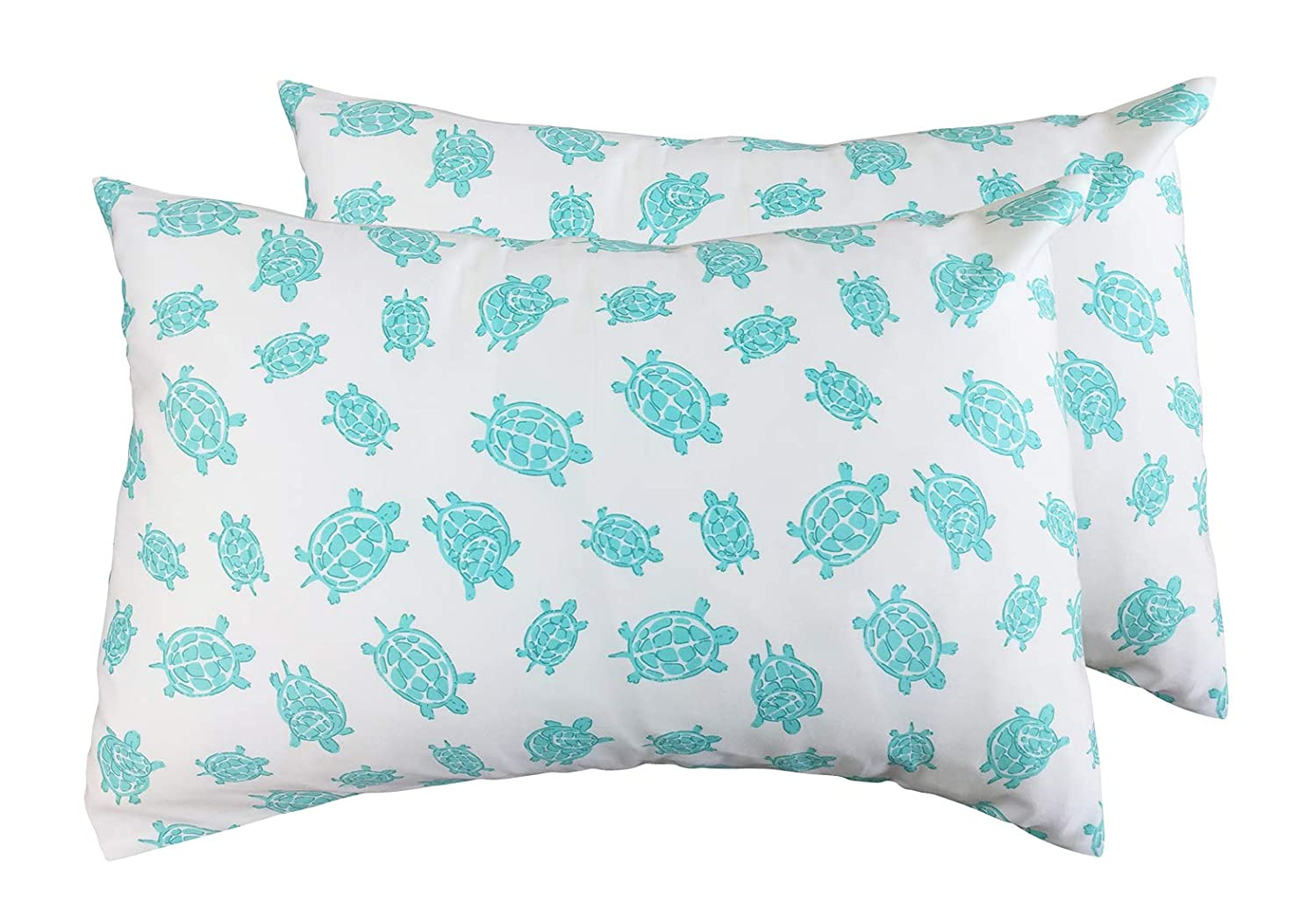 2 Toddler or Travel Pillowcases in Organic Cotton to Fit 13 x 18 and 14 x 19 Pillow, Turtle Print (Pink) Dera Design