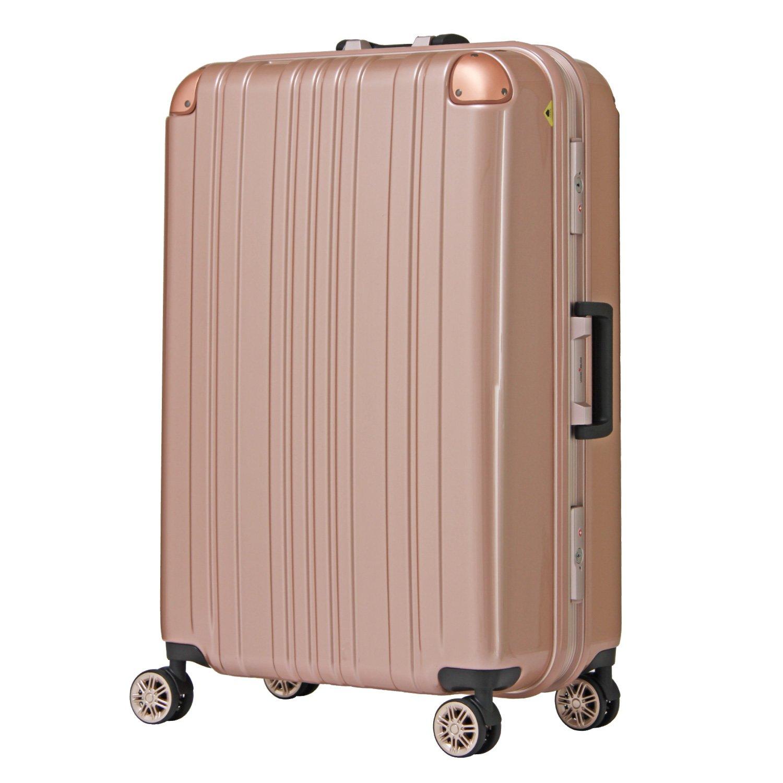 【レジェンドウォーカー】LEGEND WALKER スーツケース アルミフレーム 鏡面ボディ TSAロック 軽量 機内持込~大型 5122 B0798GF27R Sサイズ(ファスナー)|ローズゴールド ローズゴールド Sサイズ(ファスナー)