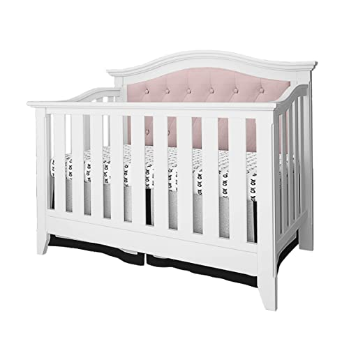 Belle Isle Furniture Magnolia Upholstered 4-in-1 Convertible Crib White Pink Linen