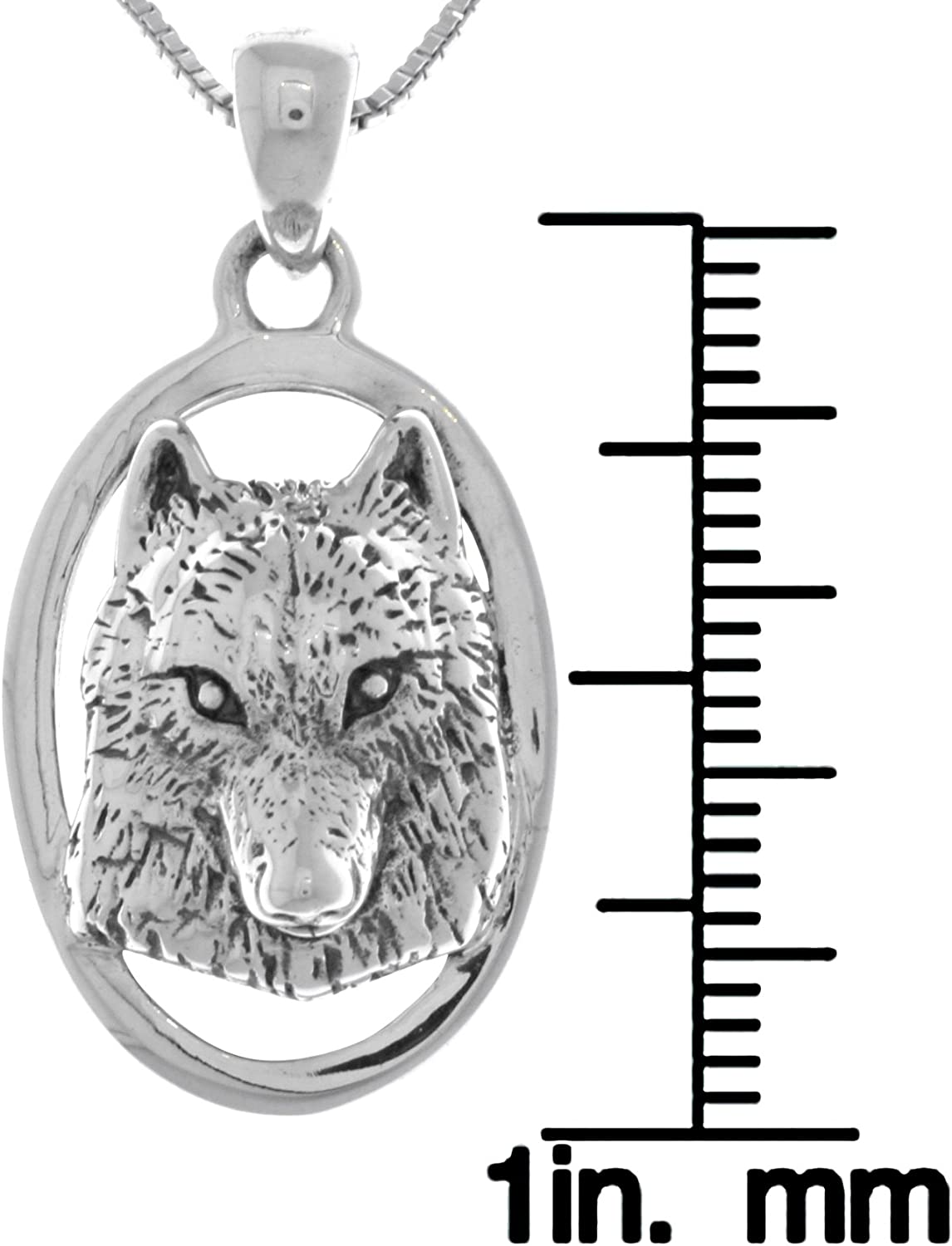 Jewelry Trends Wolf Face 3D Portrait Sterling Silver Pendant Necklace 18