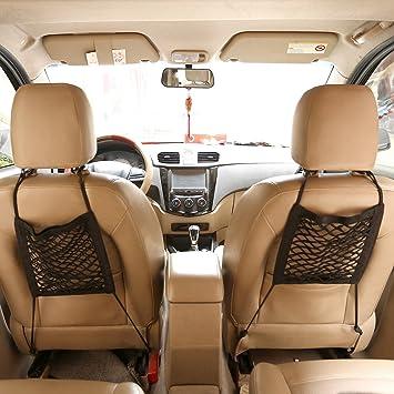 Acbungji 2 Stück Auto Kofferraum Universal Netztasche Universal Netztasche Mit Klettverschluss Autositz Kofferraumnetz Kofferraum Netz Organizer Handy Kind Spielzeugdung Schutznetz Auto