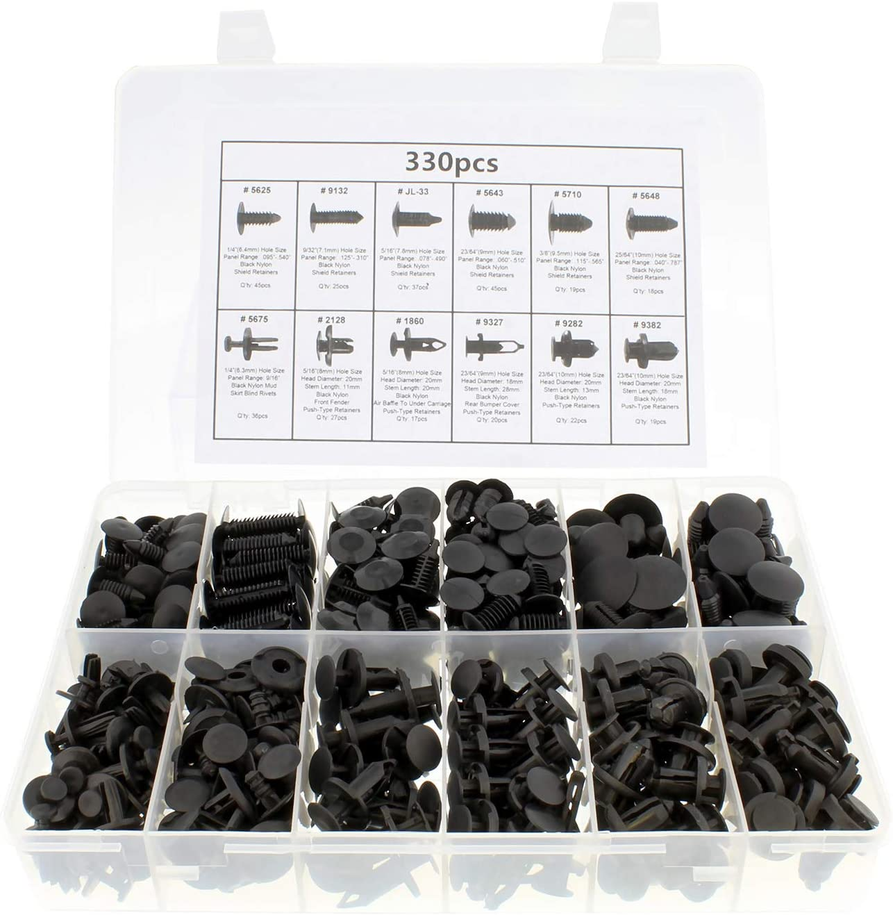 ABN Push Type Retainer Clips, 330 Pc – Black Auto Body Clips and Fasteners for Cars, Nylon Rivets and Push Pin Clips