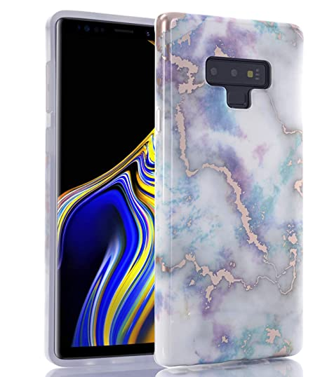 177659be7aa BAISRKE Galaxy Note 9 Case, Note 9 Marble Design Matte Bumper Soft TPU Rubber  Silicone