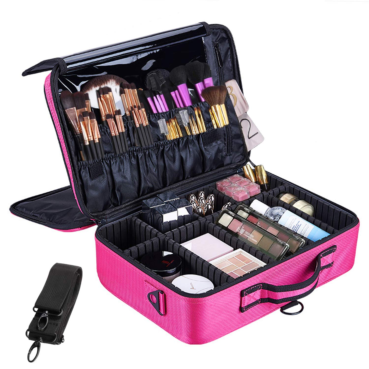 Makeup Train Case 3 Layer Waterproof Large Capacity Travel Cosmetic Case with Shoulder Strap, Portable Makeup Box Storage Organizer with Removable Dividers for Brushes Accessories Daily Use.
