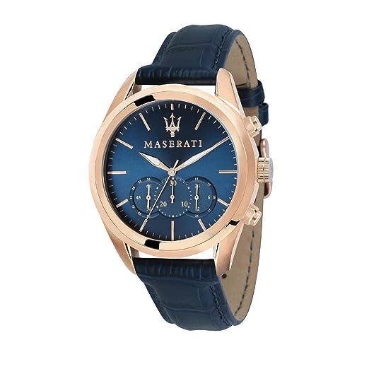 MASERATI Reloj Cronógrafo para Hombre de Cuarzo con Correa en Cuero R8871612015: Amazon.es: Relojes