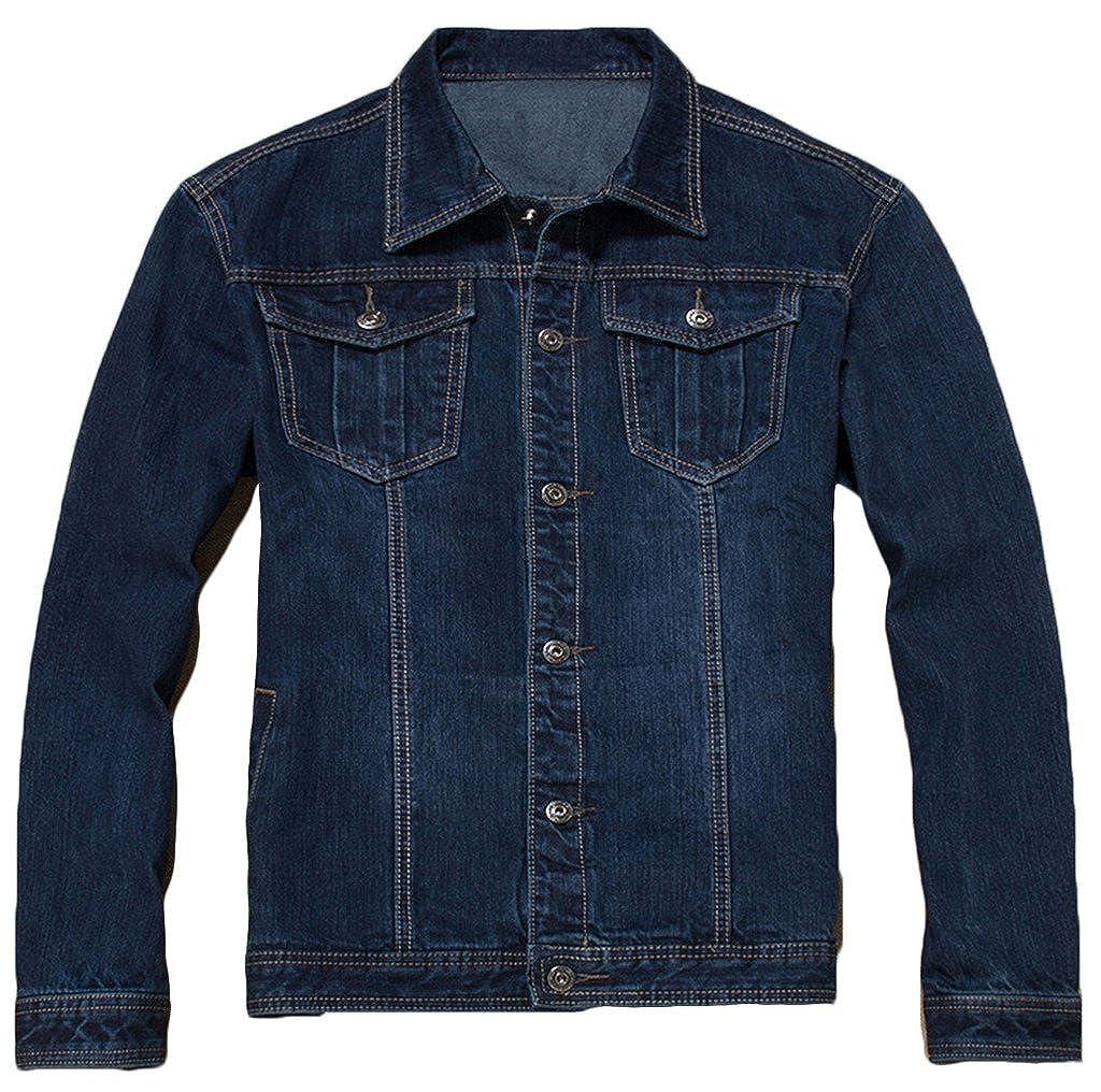 Sawadikaa Uomo Classico Giacca di Jeans Ripped Denim Jacket Giacca di Cotone Slim Giacca Jeans