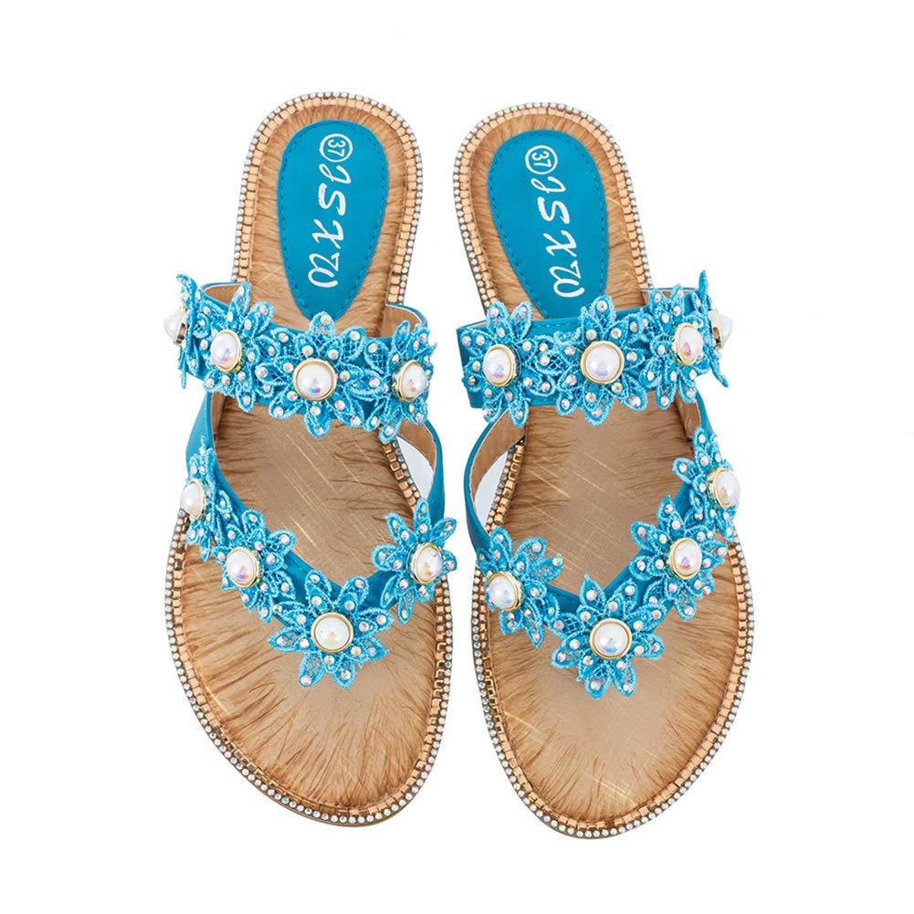 Women's Jeweled Pearl Blue Flower Flip Flops Sandals