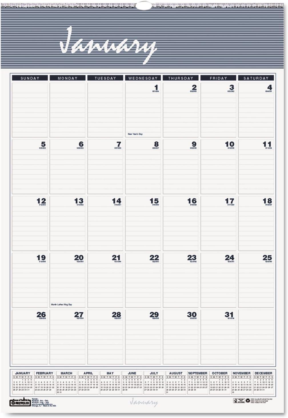 OP HOD331HD United STATIONERS Calendar,Wall,MLY,8.5X11