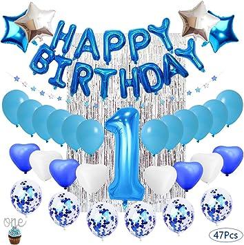 Decoración De Cumpleaños Para Niños De 1 Año Globos De Látex Rellenos De Confeti Azul Decoración De Cumpleaños Artículos Para Fiestas Amazon Es Juguetes Y Juegos
