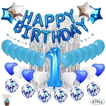Decoración de cumpleaños para niños de 1 año. Globos de látex Rellenos de Confeti Azul decoración de cumpleaños Artículos para Fiestas