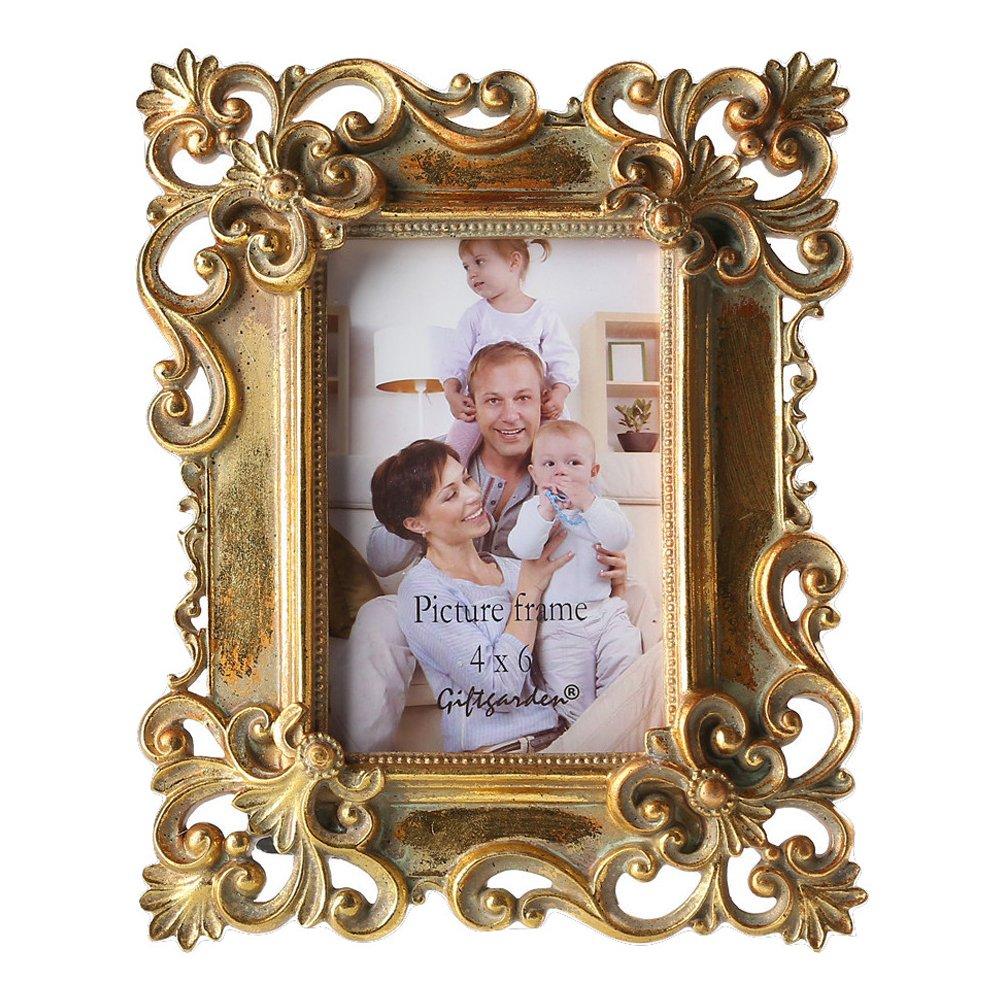 Amazon.de: Giftgarden Bilderrahmen 10 x 15 cm gold vintage antik ...