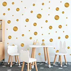 CORRURE Polka Dot Home Wall Decals (255pcs) - Easy Peel and Stick Decor Stickers for Baby Nursery, Kids Toddler Bedroom, Living Room, Safely Removal from Walls, Assorted Size Decal Dots