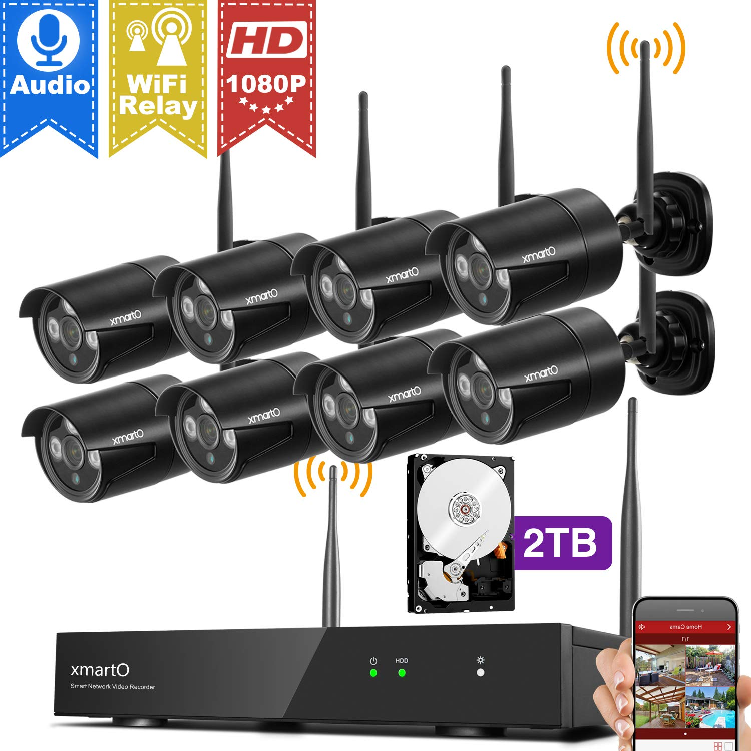 [1080p HD & Audio Compatible] xmartO 8CH 1080p HD Outdoor Wireless Security Surveillance Camera System with 8pcs 1080p HD Wireless Security Cameras and 2TB HDD, NVR with Built-in WiFi Router, 80ft IR by xmartO