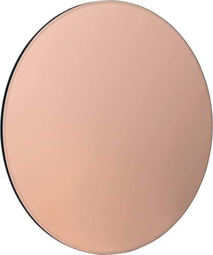 Kate and Laurel Azalea Modern Rose Gold Tinted Frameless Decorative Round Wall Mirror, 26-Inch Diameter